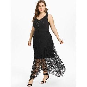 Plus Size Goth Punk Lace-Up Corset Dress w/ Lace Boutique